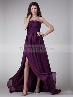 Straight Neckline Pleated Chiffon A Line Long Evening Dress