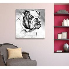 Brayden Studio 'English Bulldog' Painting Print on Wrapped Canvas Size: