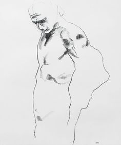 "Male Figure Drawing - 14 x17"", fine art - Drawing 156 - conte on paper - original drawing"