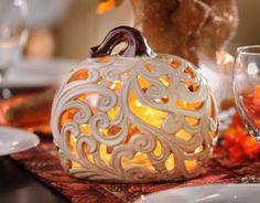 The Cut-Out Pumpkin Candle Holder is an elegant twist on autumn decor. #kirklands #kirklandsharvest