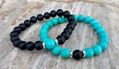 Matching Couple Bracelets, Turquoise Couple Bracelets, Black and Blue Bracelets, Stacking Bracelets for Couples, Protection Bracelets Set This matching couple bracelets perfect for protection and success and they make a great Valentines gift, Anniversary Gift, Birthday gift and