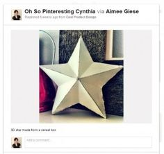 Pinterest 3D star on cardboard with different kinds of fabric