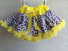 Baby Toddler Girls Gray and Yellow Chevron Pettiskirt Tutu Skirt Fluffy Party #Unbranded #DressyEverydayHoliday