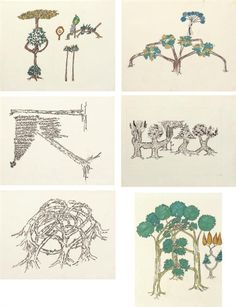 Gordon Matta-Clark - Untitled (Tree Forms); Medium: ink and graphite on paper; Dimensions: 48.26 X 60.96 cm.