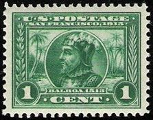 United States Scott #397 (01 Jan 1913) Vasco Núñez de Balboa, first European to see the eastern part of the Pacific Ocean (Mar del Sur) by crossing the Isthmus of Panama in 1513.