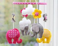 Baby Elephant mobile Nursery Elephant Mobile Hot by FlossyTots