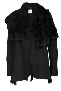 L'AGENCE suede shearling jacket black    www.insbuyr.com