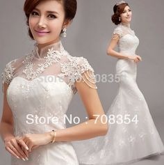 New Arrival Vintage Small Mandarin Collar Organza with Exquisite Lace Beading Mermaid Trailing Wedding Gown-in Wedding Dresses from Weddings & Events on Aliexpress.com | Alibaba Group