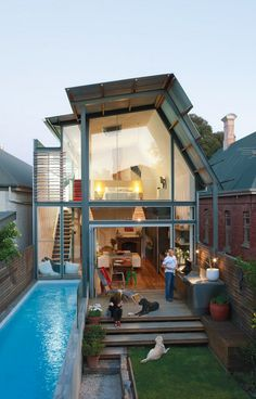 Narrow lap pool in a small garden