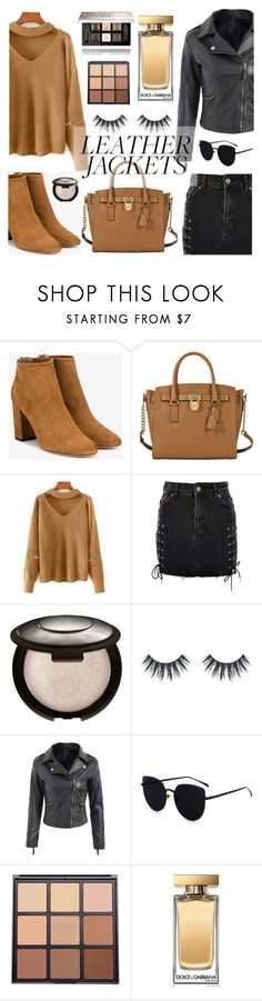 """""""Cool-Girl Style: Leather Jackets"""" by dora04 ❤ liked on Polyvore featuring Aquazzura, MICHAEL Michael Kors, Topshop, Morphe, Dolce&Gabbana and Givenchy"""