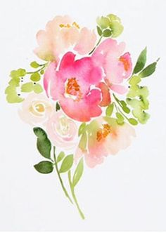 42 Ideas for flowers bouquet drawing watercolor print Watercolor Water, Watercolor Cards, Watercolor Print, Watercolor Flowers, Watercolor Paintings, Watercolors, Floral Drawing, Drawing Flowers, Watercolor Projects