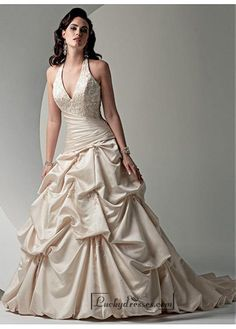 Beautiful Elegant Exquisite Satin Wedding Dress In Great Handwork Sale On LuckyDresses.com With Top Quality And Discount