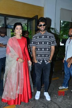 Geetha Govindam Movie Vizag Press Meet Gallery - Social News XYZ interaction with Vizag media event in the evening Grand release of Indian Fashion Dresses, Indian Bridal Outfits, Dress Indian Style, Indian Gowns Dresses, Long Gown Dress, Lehnga Dress, Long Gowns, Kalamkari Dresses, Indian Designer Suits