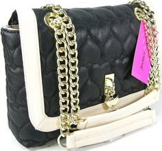 Betsey Johnson Purse Shoulder Cross Body Bag Black Puffy Hearts Be Mine Flap