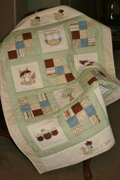 Custom Made Personalized Owl,Fox, Woodland baby quilt. $180.00, via Etsy.  Adorable raccoon and baby fox, too
