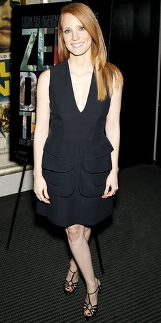 12/18/12: #JessicaChastain's not-so-basic black dress featured a shape-enhancing tiered peplum. http://www.instyle.com/instyle/lookoftheday/0,,,00.html