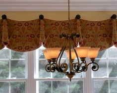 Valence Design Ideas, Pictures, Remodel, and Decor Bay Window Treatments, Window Coverings, Bay Window Curtain Rod, Window Valances, Drapes Curtains, Curtain Call, Bathroom Curtains, Custom Valances, French Country Kitchens