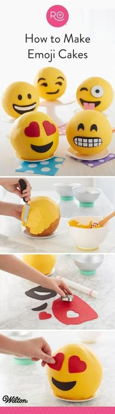 Express yourself with these adorable Emoji Cakes. Made using Rosanna Pansino's Ball Pan, these round cakes can be customized with any emoji face you'd like! Show someone how much you love them with the cute heart eyes cake…or just celebrate a fun wacky Friday with the cute winky face emoji. A great project for beginning bakers and decorators, these emoji cakes make it fun and easy to get creative in the kitchen! by deana