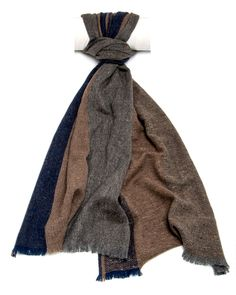"""Eleventy Grey, Tan, and Blue Colorblock Scarf 76"""" long 16"""" wide 100% cashmere Made in Italy"""