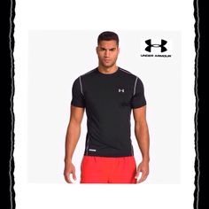 Under Armour Ua Mens Compression Fit Baselayer S/s Shirt Small Orange Activewear Clothing, Shoes & Accessories