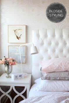 Bedside table styling | Nightstand | Via Fairly Light