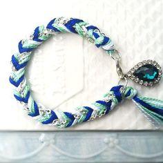 10 Dollar SALE - 3 DAYS ONLY : Chevron Braided Modern Friendship Bracelet - Mint, Pearl, & Royal Blue $10