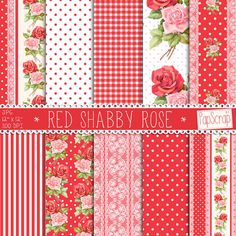 "Shabby chic digital paper : ""Red Shabby Rose"" red and white digital paper with roses, lace, polkadot, gingham and stripes, digital scrapbook"
