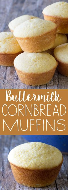 Sweet, buttermilk cornbread muffins that are super easy to make and super tasty too. It doesn't get any easier! Corn Dog Muffins, Buttermilk Muffins, Buttermilk Cornbread, Buttermilk Recipes, Cornbread Muffins, Simple Muffin Recipe, Muffin Recipes, Baking Recipes, Bread Recipes