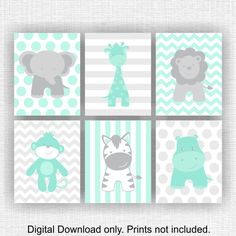 Mint and Gray Jungle Animals nursery Printable Elephant