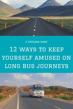 Trying to keep yourself amused on a long journey? Check out these top tips to keep you sane on a bus or train. https://apostcardhome.co.uk/2017/05/20/12-ways-to-keep-yourself-amused-on-long-bus-journeys/ | Bus Journey | Travel Hacks |