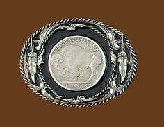 NEW Buffalo Coin Belt Buckle 3 x 2 1/2 Diamond Cut Pewter Made in USA