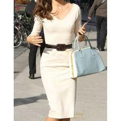 Elegant V-Neck Solid Color 3/4 Sleeve Bodycon White Dress For Women, WHITE, M in Dresses 2014 | DressLily.com