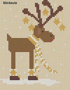 CHRISTMAS REINDEER WEARING SCARF & ORNAMENTS - X STITCH