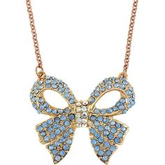 Betsey Johnson Blue Rose Gold Bow Pendant ($38) ❤ liked on Polyvore featuring jewelry, pendants, necklaces, betsey johnson, blue, rose gold pendant, rose gold jewelry, bow pendant, pendant jewelry and blue druzy pendant