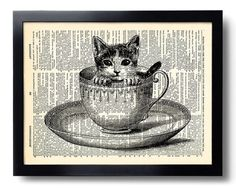 Cat Kitten Cup Tea Art Print Vintage Book Print Recycled Vintage Dictionary Page Collage Repurposed Book Upcycled Dictionary 043 on Etsy, $10.00