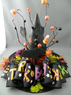 Items similar to Trick or Treat Witch Hat - OOAK centerpiece, Halloween prop, spooky decor on Etsy Halloween Prop, Halloween Candy, Vintage Halloween, Fall Halloween, Halloween Crafts, Halloween Decorations, Halloween Wreaths, Halloween Witches, Halloween Stuff