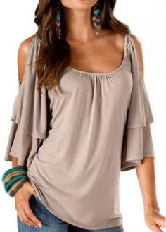 Apricot Cold Shoulder Round Neck T Shirt