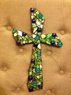 Mosaic Wall Art Cross Jewel Beaded handmade