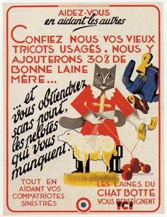 Cats in Art, Illustration, Photography, Design and Decorative Arts: Les Laines du Chat Botté advertising sign