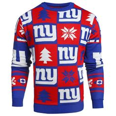 5946e9a86 New York Giants NFL Forever Collectibles Red   Blue Knit Patches Ugly  Sweater