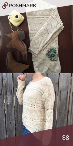 """Flash sale ❤Tan high low boho sweater This top does not have a tag but if it did it would say """"boho baby size i don't care because I look amazing"""" fits like a small or medium. Fun cut and even better pattern. Wear a tank underneath to avoid any awkward moment. Wear with jeans and some fun jewelry! Tops"""