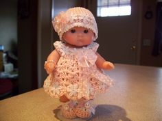 """Berenguer 5"""" Baby Dolls - Pale Pink and daisy dress with hat #119  More can be seen on Pinterest under Jana Langley Berenguer 5"""" Dolls with crocheted outfits"""