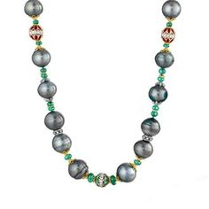 Verdura tahitian pearl, emerald and ruby necklace