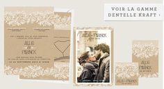Faire-part de mariage Dentelle Kraft
