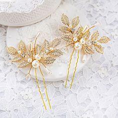 2016年 成人用 / フラワーガール ラインストーン / 合金 / 人造真珠 かぶと-結婚式 / パーティー ヘアピン 2個 4992904 コレクション – ¥961