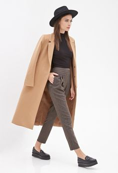 Plaid Print Pleated Trousers
