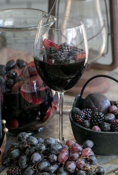 Black Sangria Recipe  1 bottle Apothic Dark  2 cups organic blackberries, washed  4 black plums, washed and sliced  1/4 cup brandy  2 cups black grapes, washed  1 cup sparkling water if you desire, but y...
