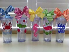 Personalized SummerBeach Tumblers by GameDayGirlsandGifts on Etsy