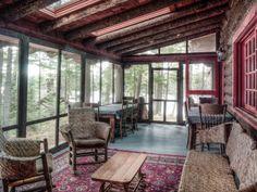 Camp Uncas, Adirondacks, JP Morgan vacation home, Camp Uncas Main Lodge porch Lake Cabins, Cabins And Cottages, Cabin Homes, Log Homes, Adirondack Decor, Cabin Porches, Country Porches, Porch Roof, Country Farm
