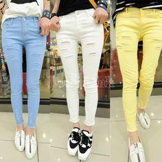 Women's Soft Pure Color Slim Elastic Hollow Pencil Pants Trousers 3 Colors